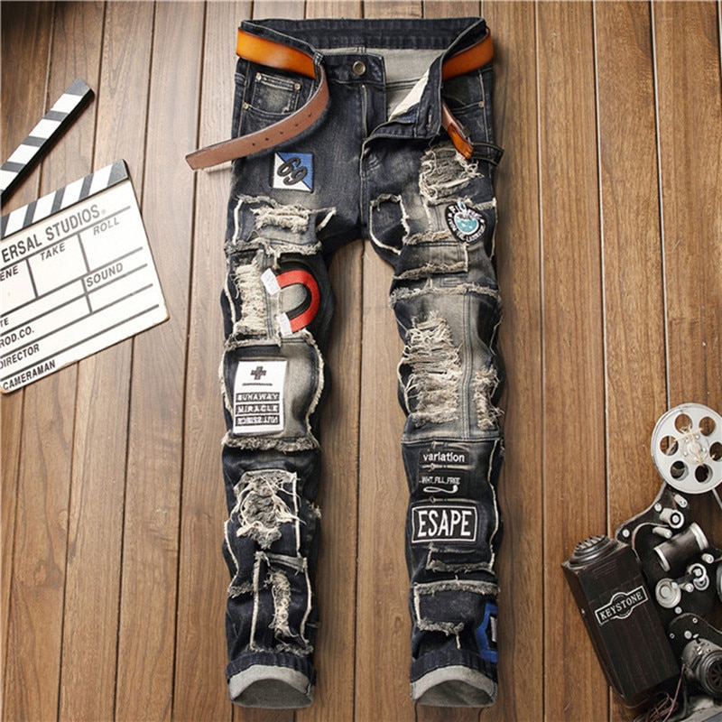 Mens New Ripped Cloth Wash Embroidery Casual Fashion Trend Stretch Small Feet Vintage Blue Jean Trousers