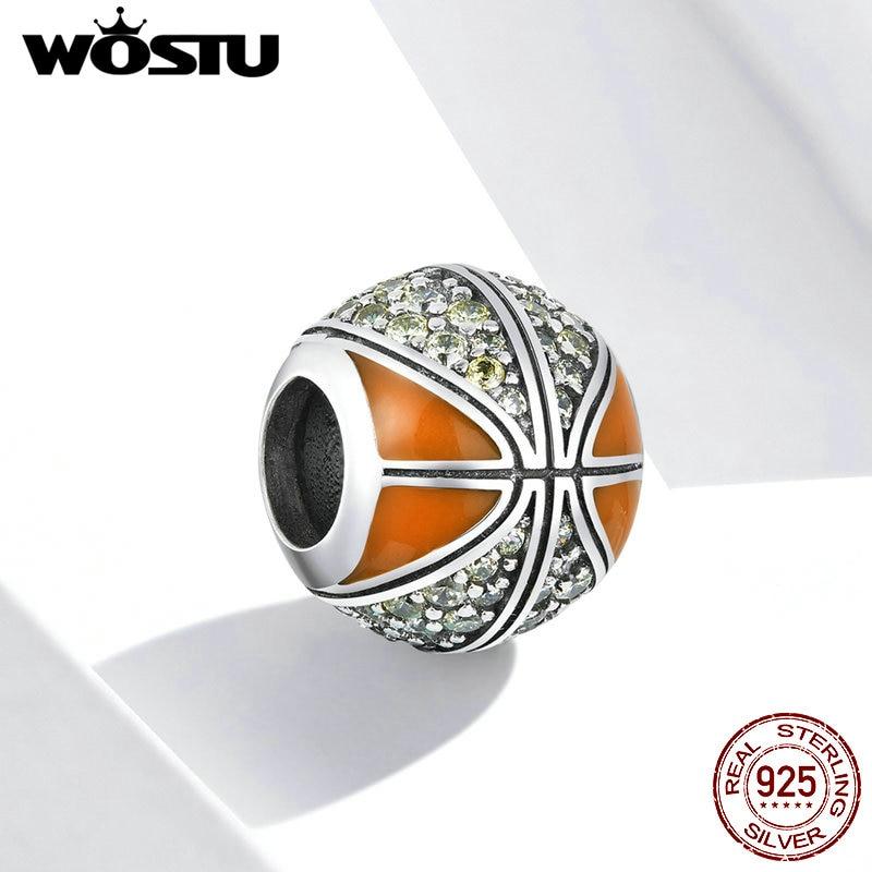 WOSTU Basketball Charme 925 Sterling Silber CZ Runde Sport Bead Fit Original Armband Anhänger DIY Halskette Schmuck Geschenk FIC1506