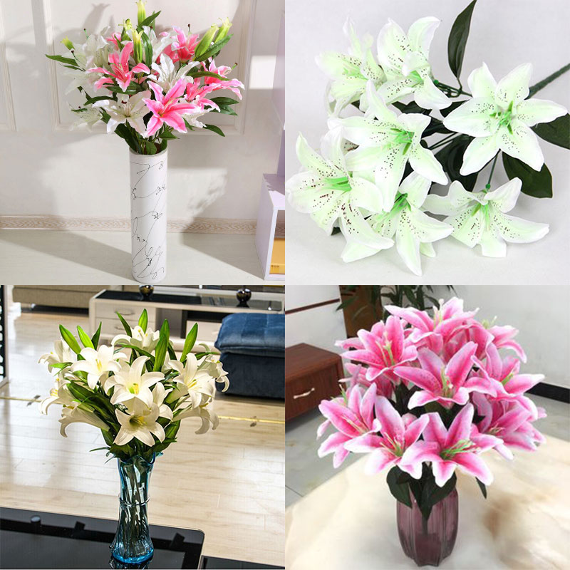 Lirio Artificial Flores 10 piezas cabezas Flores decoración Bonquet falso fiesta flor decorativa seda boda hermoso manojo