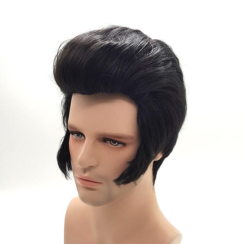 Mens Rock Singers Elvis Aron Presley Cosplay Wig Party Elvis Presley Black Synthetic Hair Party Costume Wigs + Wig Cap