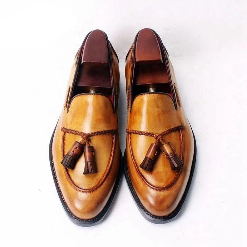 Мужские кожаные туфли на низком каблуке, классические туфли с бахромой, броги, весенние ботильоны, винтажные классические мужские повседне...