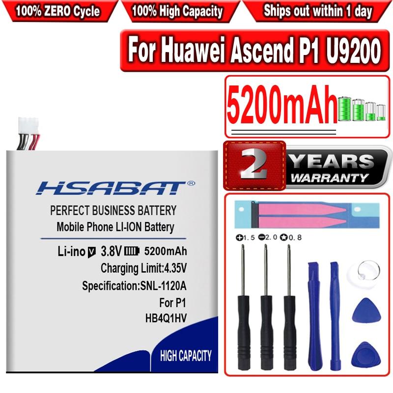 Nueva batería HSABAT 5200mAh HB4Q1HV para Huawei Ascend P1 U9200 T9200 U9500 D1