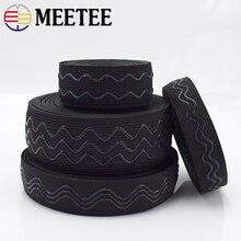 Meetee 2/5/10 mètres 2-4cm bande élastique antidérapante vague Silicone sangle élastique ceinture bricolage Sport vêtements poignet garde coudre accessoires