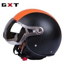 Gxt Motorfiets Casco Mannen Vintage Retro 3/4 Helmen Motorbike Fiets Scooter Helmen Capacete Casque Ruby Helm