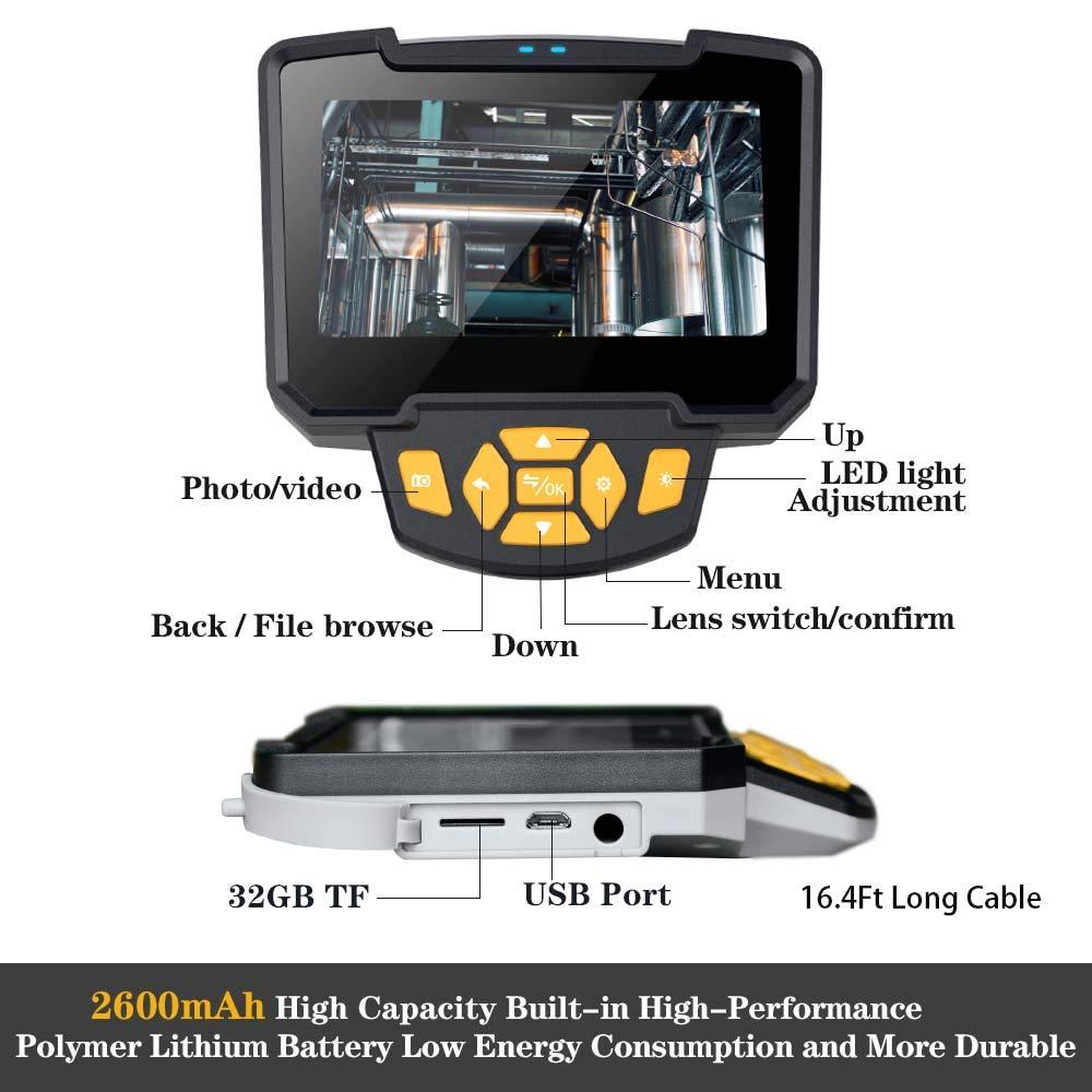 8mm Dual Lens Handheld Industrial Endoscope Camera 4.3 inch Screen IP67 Digital Engine Drain Pipe Inspection Camera