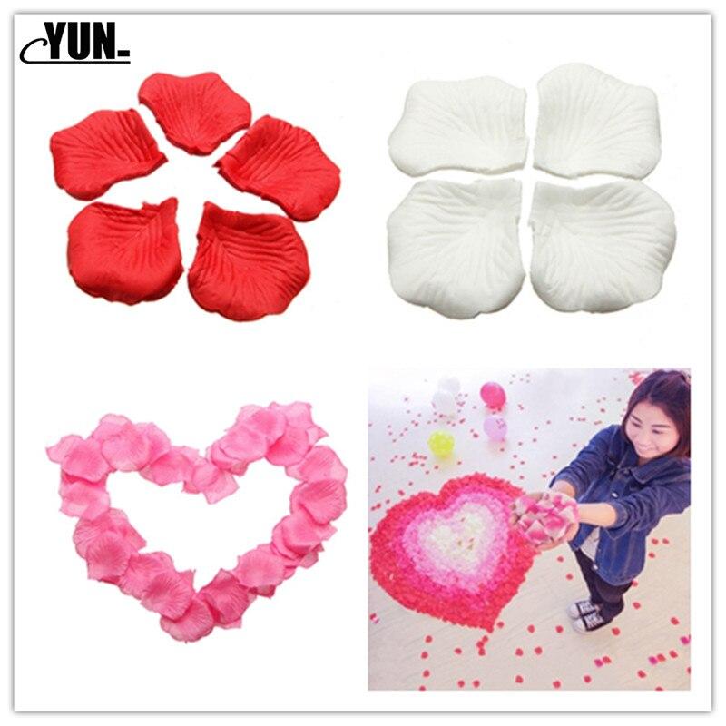 Pétalos de rosa para bodas, 1000/100 Uds., venta al por mayor, decoraciones de flores, rosa de poliéster, nueva moda 7D