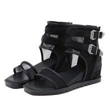 YMECHIC 2020 nouveauté européenne Vintage été bottes compensées talon rétro chaussures femmes bouche ouverte populaire boucle Rome livraison directe