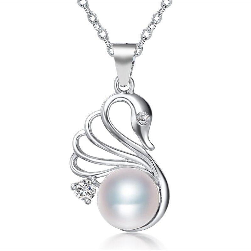 DMCPFP002 8-9MM colgante de perlas Cisne Plata de Ley 925 auténtica collar de perlas colgantes para mujeres