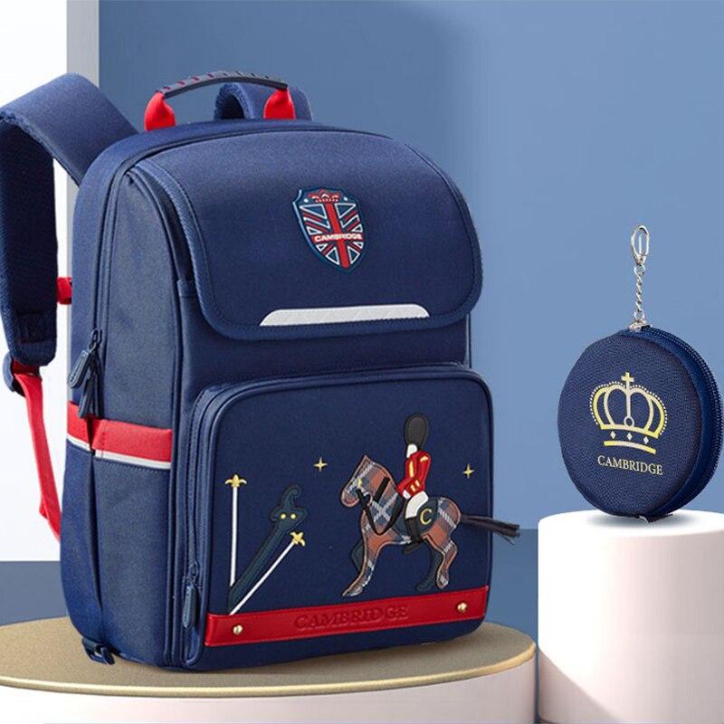 الأزرق الداكن حقيبة مدرسية 6-12 سنوات ليتل بنين الأطفال العظام على ظهره 1-3-6 الصف فارس الحصان حقيبة مدرسية للأطفال العلامة التجارية Bookbag