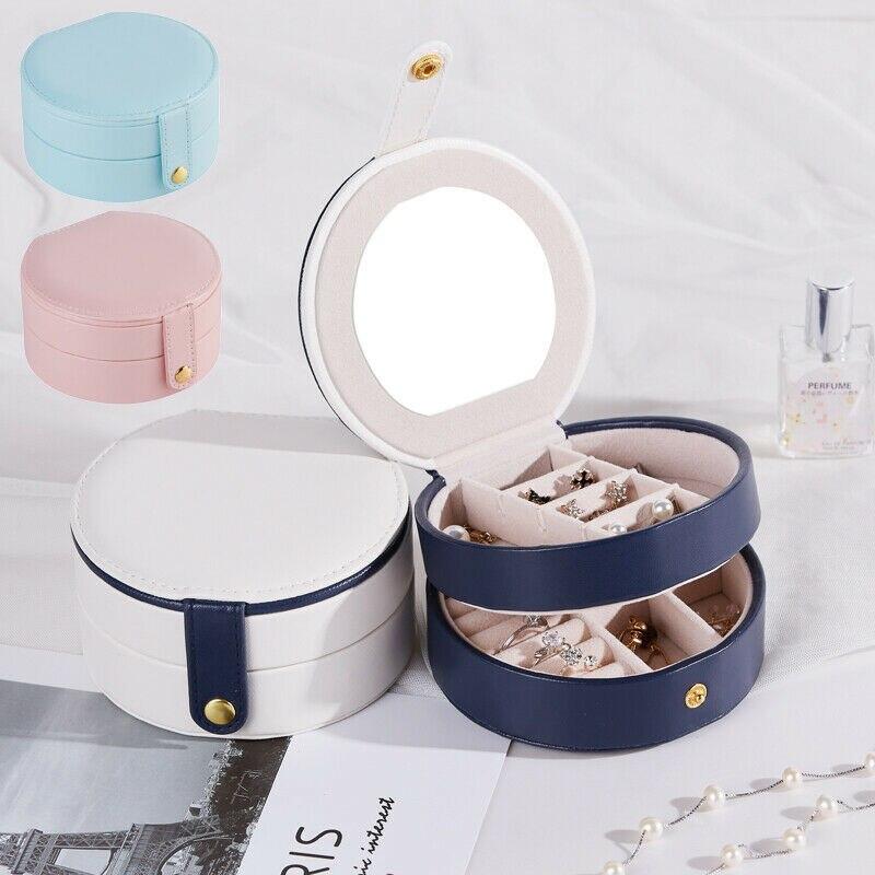 Portátil pendiente almacenamiento Estuche de transporte caja redonda de joyería de la cremallera de viaje de cuero de la PU de joyería embalaje organizador pantalla de la caja de regalo