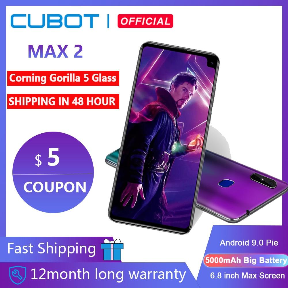 Перейти на Алиэкспресс и купить Cubot Max 2 Android 9,0 Восьмиядерный 6,8 дюйм5000mAh смартфон Грануляция, Горилла Стекло Тип-C 4 Гб + 64 Гб двойной Камера 12MP 4 аппарат не привязан к оператору сот...