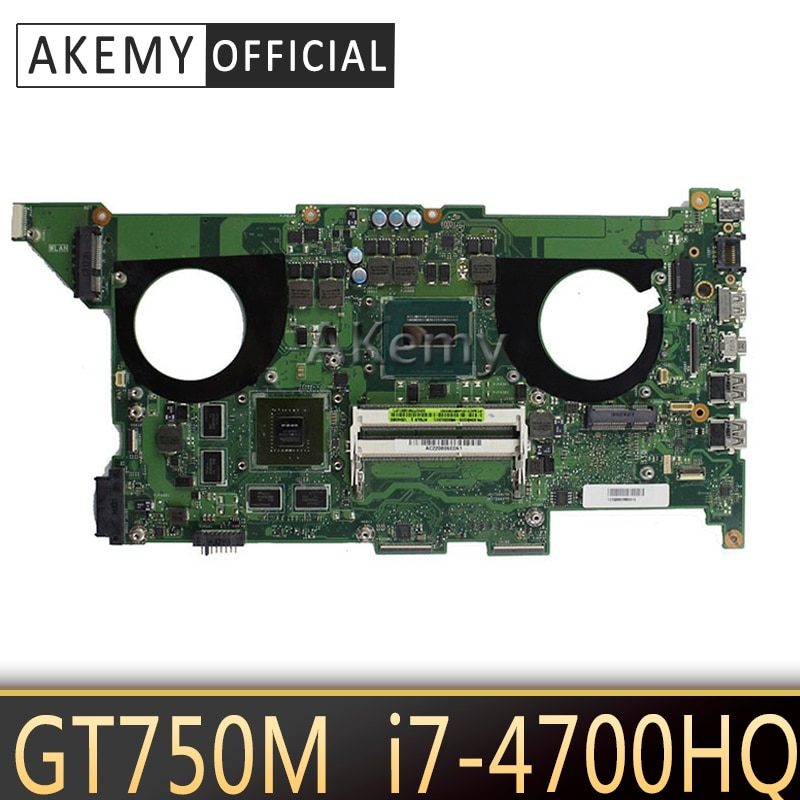 Placa base para ordenador portátil Akemy N750JV para ASUS N750JV N750J N750 prueba placa base original I7-4700HQ GT750M