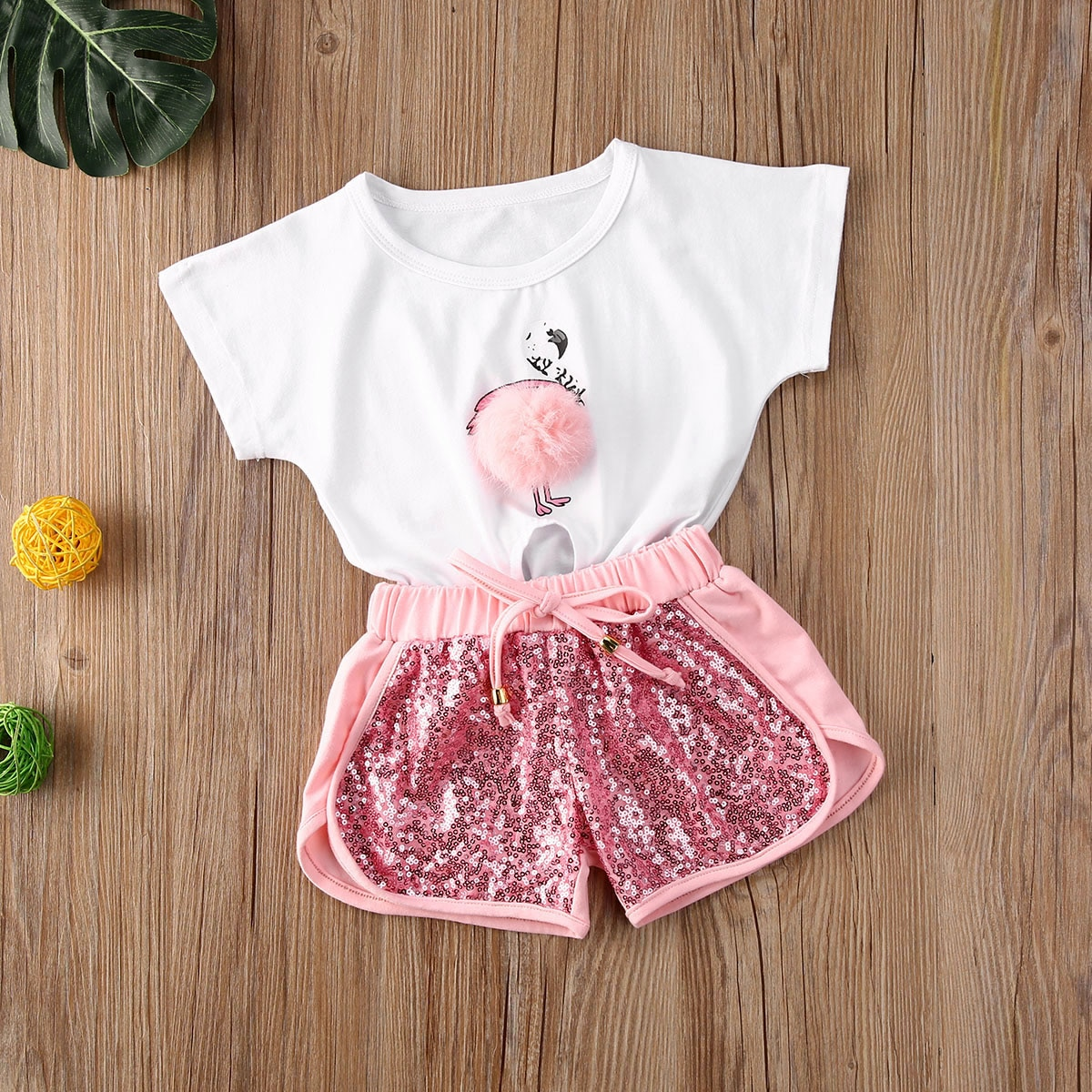 Verano 2020 niñas traje transpirable Casual flamenco patrón de felpa Bola de manga corta Top camisa lentejuelas ropa pantalones conjunto