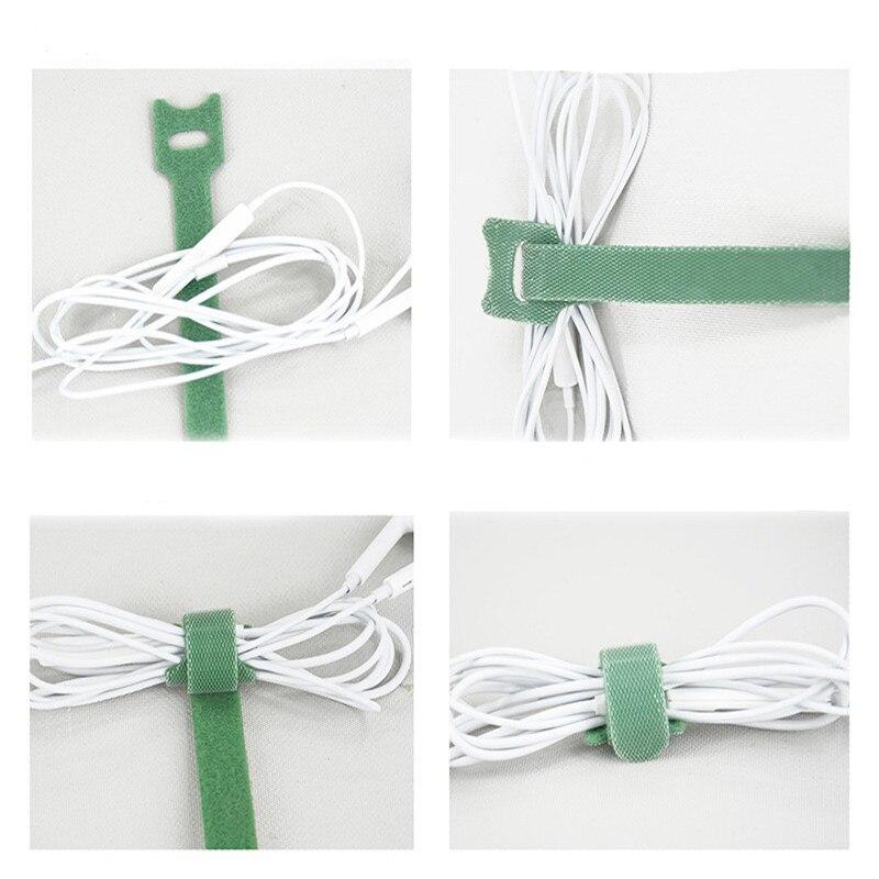 100 Uds. Atadura de Cable de Velcro tipo T reutilizable de nailon de alta calidad Back To Back de doble cara ataduras de Cable de datos organizador de alimentación