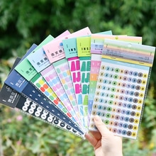 JIANWU 2 Sheets Simple Number Alphabet Planner Stickers DIY Decorative Stickers Basis Small Fresh Kawaii Journal School Supplies