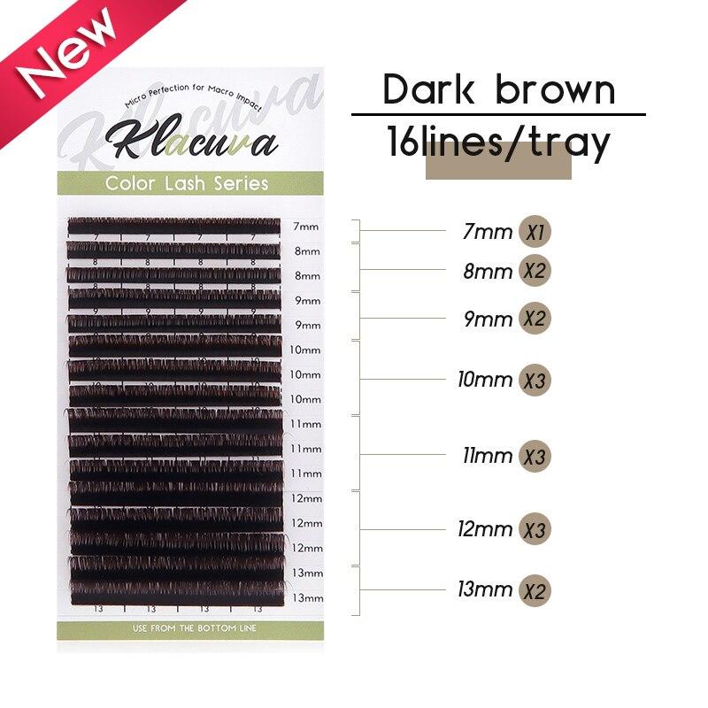 Klacuva, extensiones de pestañas individuales de color marrón oscuro 0,07/0,10, extensiones de pestañas de volumen de Chocolate mezclado, suministros de pestañas de visón falso