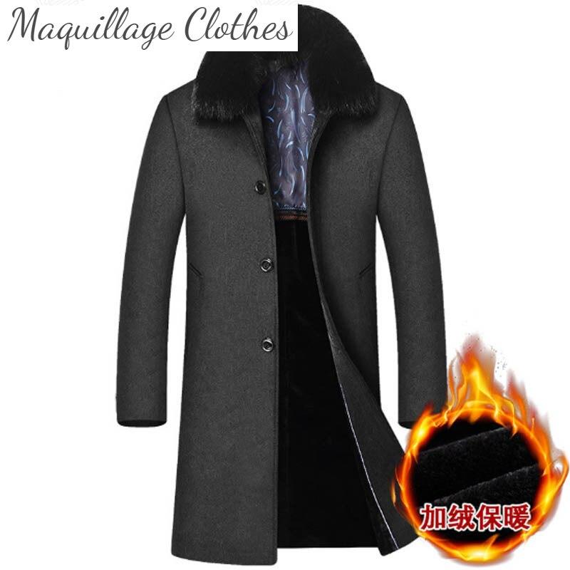 2021 الرجال الشتاء خندق معطف انفصال الفراء طوق رشاقته الصوفية معاطف سترات طويلة عادية للذكور