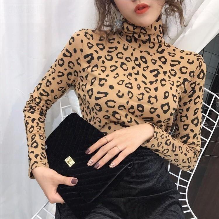 Leopard T-shirt Korean version 2019 autumn and winter new Slim long-sleeved plus velvet thick high-necked shirt shirt women