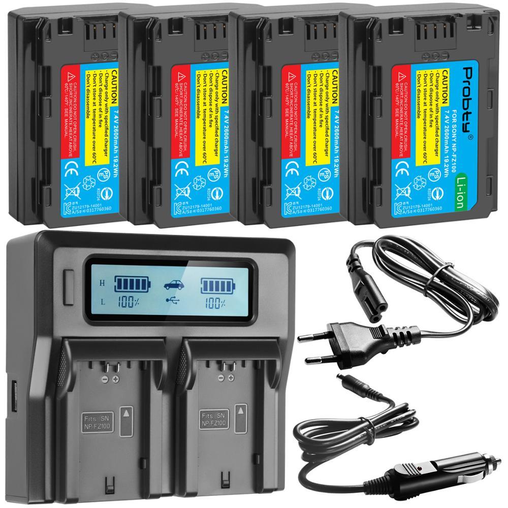 2600mAh NP NP-FZ100 NPFZ100 FZ100 Bateria + LCD Rápido Carregador Duplo para Sony Alpha BC-QZ1 9 9R A9R 9S ILCE-9 A7R A7 III ILCE-7M3