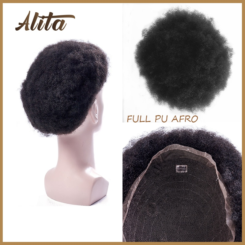 AFRO Toupee for Black Men PU Base  0.04-0.06mm Curly Hair Wigs Indian Human Remy Hair Repacement System Kinky Curly Hairpieces