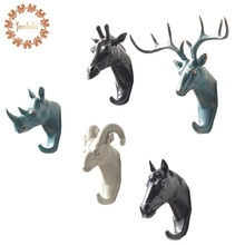 Crochet décoratif en résine modèle créatif   Crochet mural pour manteau, Rhino éléphant girafe cheval Animal, crochet mural pour salle de bains
