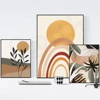 Affiche et impression de toile dart mural en arc colore abstrait  paysage nordique  feuilles vertes  pour decoration de salon de maison moderne