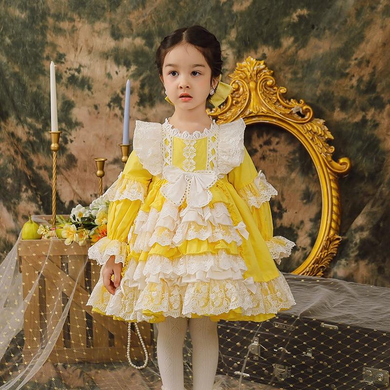 فستان أصفر للأطفال إسباني للفتيات لوليتا الأميرة Vestidos الأطفال عيد الفصح حفلة عيد ميلاد الكرة ثوب أطفال إسبانيا بوتيك Dreeses
