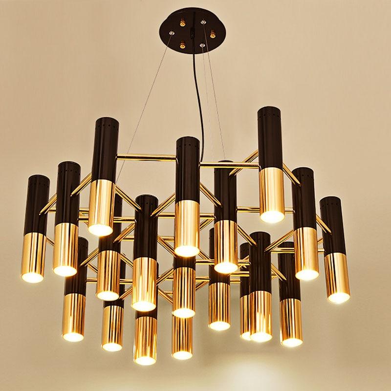 مصباح معلق LED بتصميم حديث ، مصباح سقف أنبوبي من الألومنيوم والمعدن الأسود والذهبي ، تصميم إيطالي