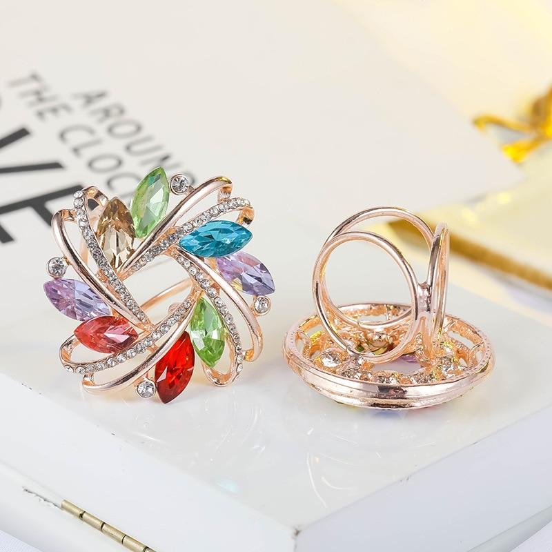 Korean New Arrival Joker Pearl Scarf Clip Three Ring Rhinestone Decoration Scarf Buckle for Women Costume Jewelry