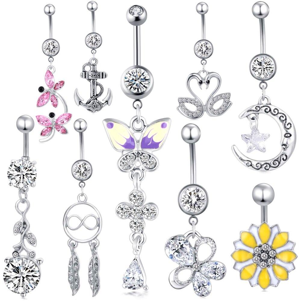 JUNLOWPY 14G de acero inoxidable cuelga los anillos del ombligo para mujeres niñas cuerpo curvado Barbell Piercing conjunto ombligo Bar anillos CZ