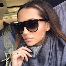 Sunglasses Women Luxury Brand Designer Retro Vintage Sun Glasses Thin Flat Top Female Oversized Sung
