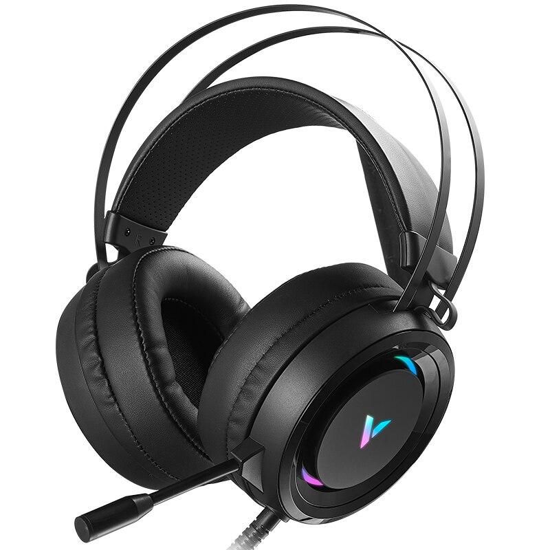 Rapoo virtual 7.1 canais estéreo wired gaming fones de ouvido jogo fone de ouvido sobre a orelha com microfone controle de volume rápido para computador portátil gamer
