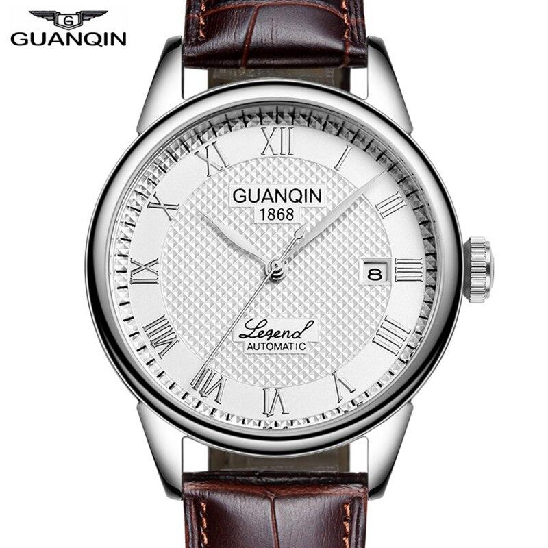 GUANQIN-ساعة يد جلدية للرجال ، ساعة رجالية ، أوتوماتيكية ، ميكانيكية ، تقويم مقاوم للماء ، 2020
