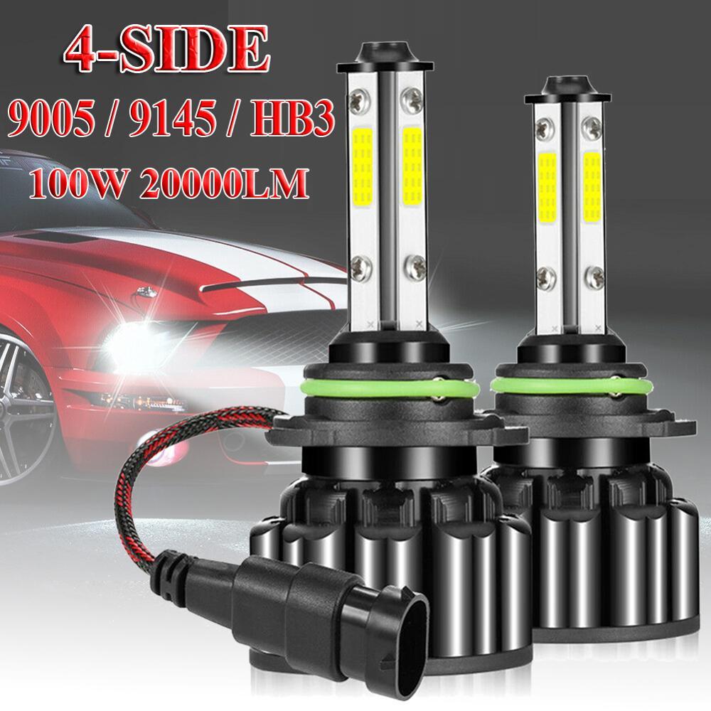 2 uds., luz LED para coche, 4 lados 9005 9145 HB3 Kit de faros delanteros LED 100W 20000LM, Bombilla de haz alto o bajo, impermeable, 12V/24V 6000K blanco