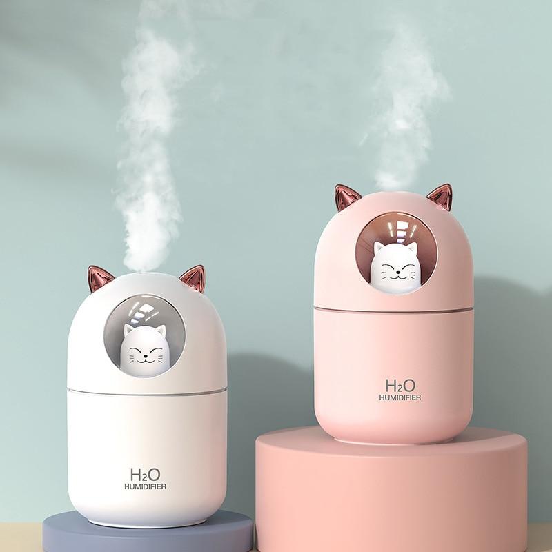 Humidificador de aire USB de 300ML, máquina de niebla ultrasónica, nebulizador con lámpara colorida, Mini Difusor aromático Cat, Humidificador Difusor