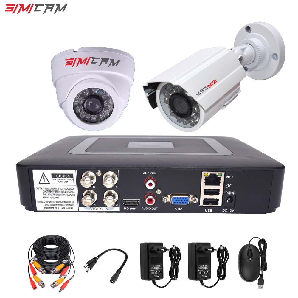 4CH DVR CCTV Security Camera System AHD Cameras Kit 1200TVL 2Pcs Dome Bullet Infrared 1080P 2MP 5in1 DVR Video Surveillance Set