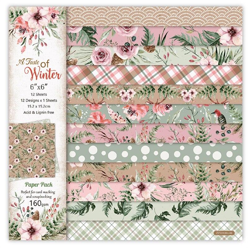 12pçs bloco de papel de scrapbooking, padrão de flor de inverno feito à mão, almofada de fundo de artesanato de papel
