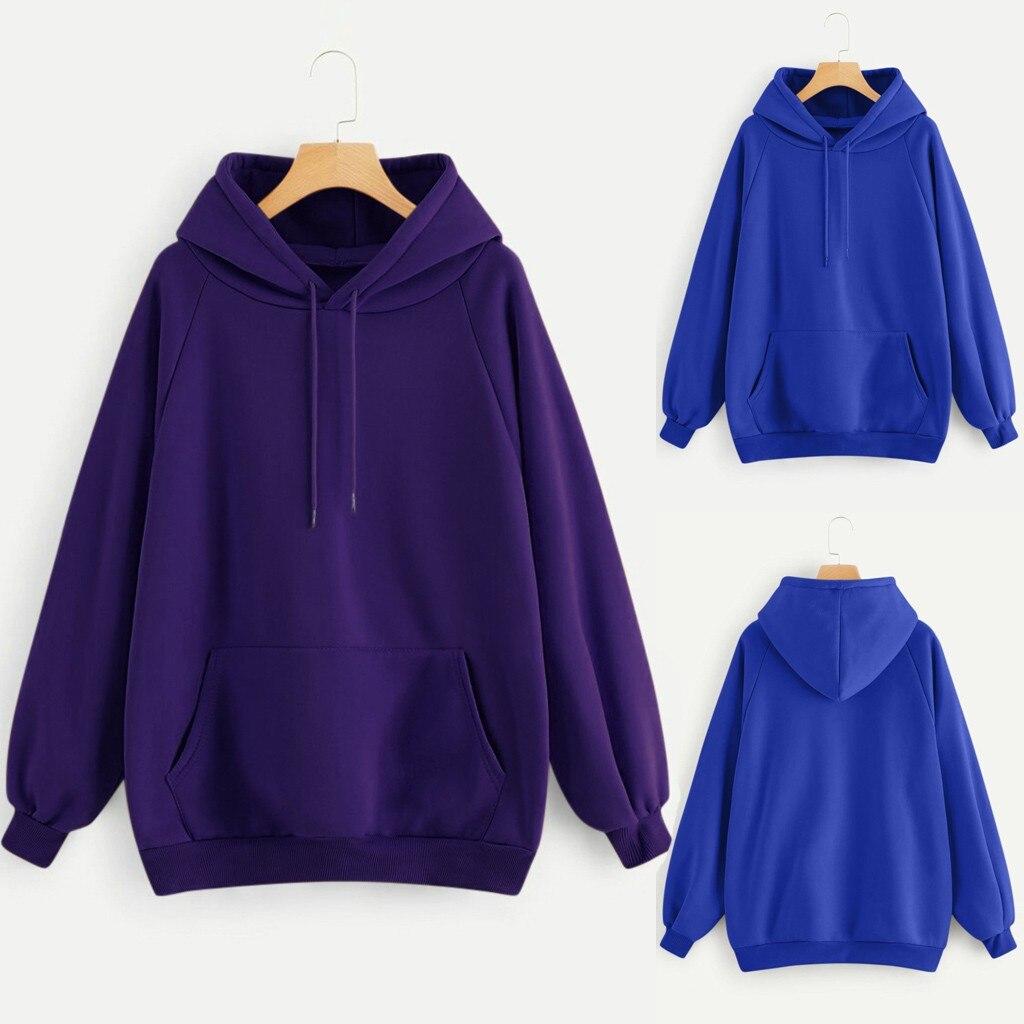 Sudadera con capucha para mujer, de manga larga, con bolsillo y capucha, de Color liso, informal, 2020