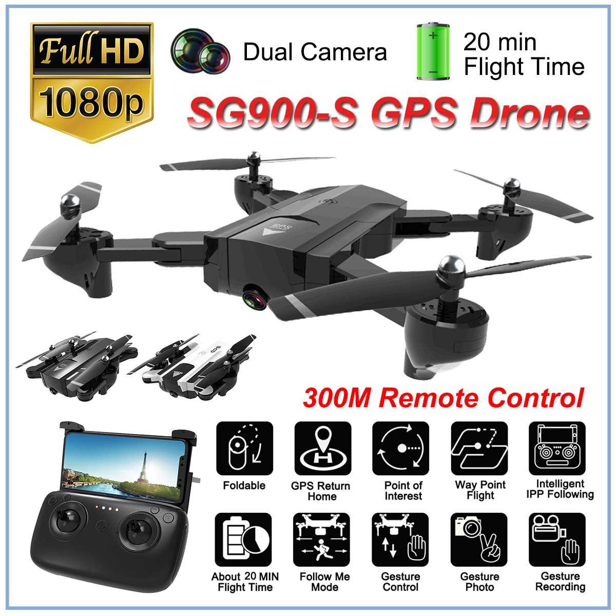 SG900S Ultra HD 1080P plegable 4K GPS RC Drone Wifi FPV gran angular cámara de larga duración de la batería Drones Cámara GPS