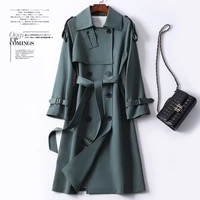 spring windbreaker womens long chic retro british double breasted loose waist over knee coat 2021 coat