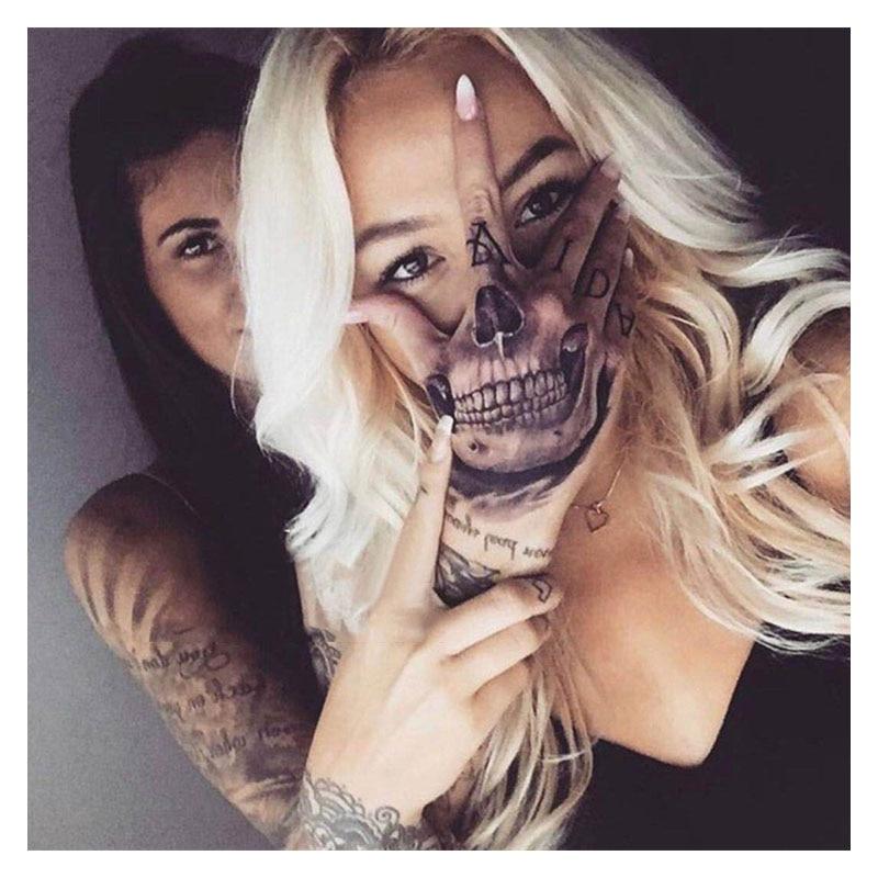 aliexpress.com - Waterproof Temporary Tattoo Sticker Hand Painted Cool Dark Skull Face Art Water Transfer Fake Tatoo Flash Tatto for Men Women