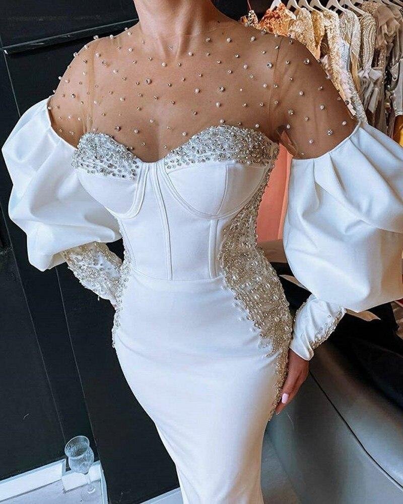 Elegant White O-neck Evening Dresses Long Sleeves Pearls Beaded Arabic Formal Dresses Dubai Long Prom Party Gowns robe de soirée недорого