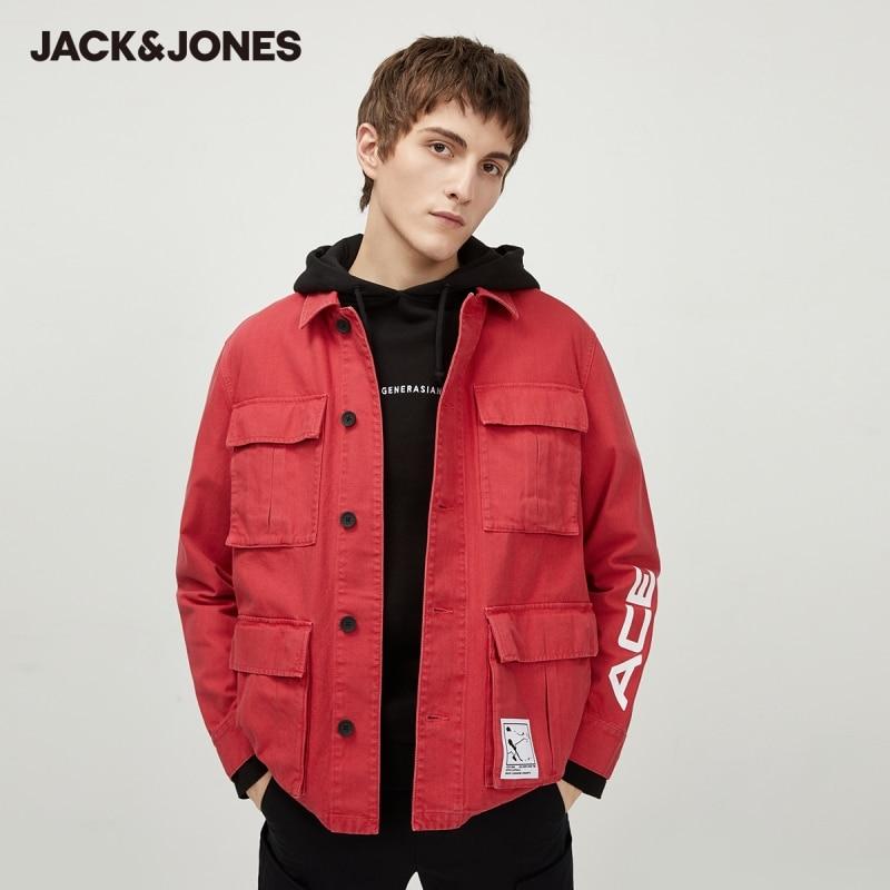 Мужская джинсовая куртка-карго, 100% хлопок