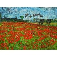 vincent van gogh field of poppy painting handmade landscape art modern oil canvas artwork for living room bedroom wall decor