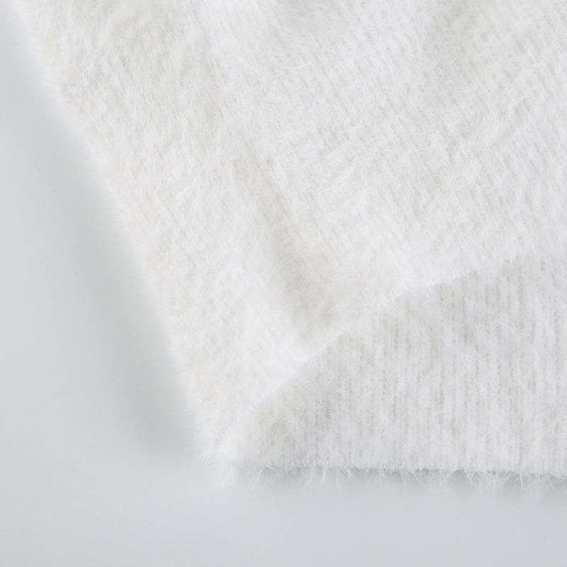 Women Puff Long Sleeve Furry Knit Cardigan V-Neck Single-Breasted Sweater Coat enlarge