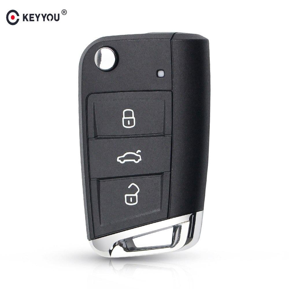 KEYYOU 3 botón plegable, abatible carcasa de llave a distancia de coche Fob para Volkswagen Passat Golf 7 MK7 Skoda Octavia Seat Leon polo Skoda Octavia