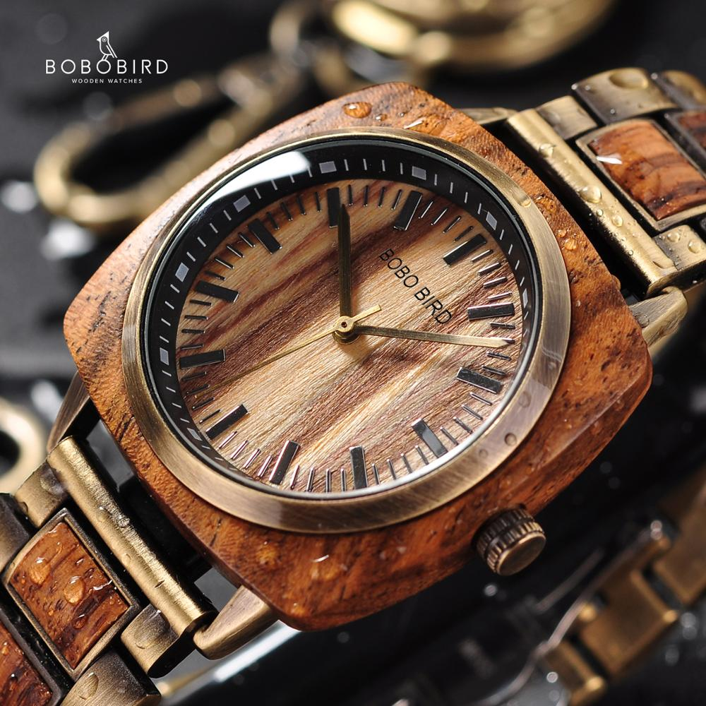 BOBOBIRD Luxury Zebra Wood Watches Women Men Fashion Wristwatch Clock Erkek Kol Saati with Gift Box Accept Customize Logo L-T06