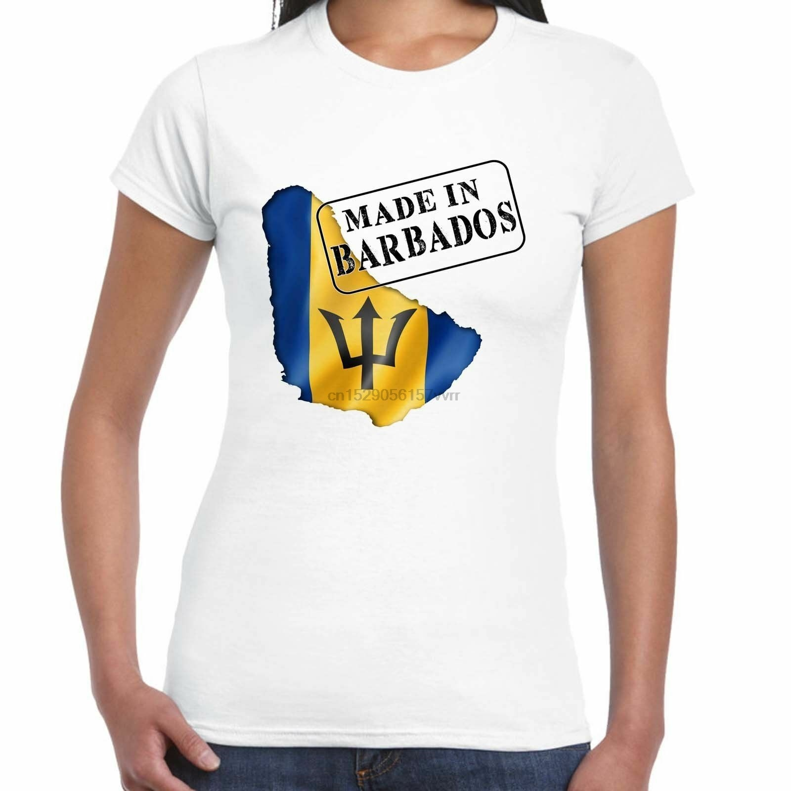 Camiseta con estampado de bandera de Barbados para mujer, Camiseta con estampado...
