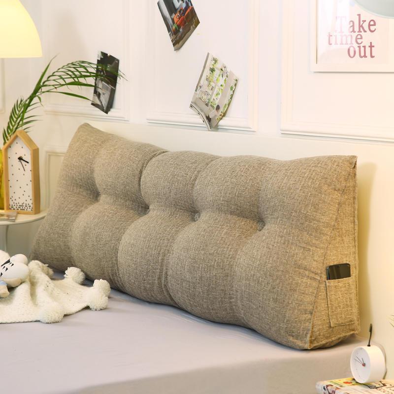 46 algodón y lino respaldo para cabecera para cama y sofá almohada y funda de almohada son extraíbles para una fácil limpieza bolsillo lateral portátil