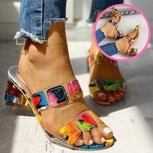 Sandals Women Square Heels Summer Sandals Peep Toe Ladies Multi Colors Wedge Shoes Sandalias de Verano Para Mujer